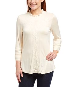 Simply Irresistible Beige Embroidered Three-Quarter Sleeve Top by Simply Irresistible #zulily #zulilyfinds