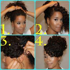 Confira o passo a passo para fazer um coque alto em cabelos cacheados.