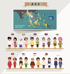 Vector Art : ASEAN boys and girls in traditional costume with map
