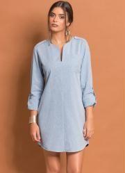 Vestido Chemise Básico (Azul Claro)