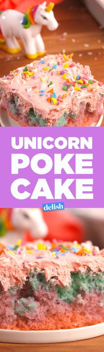 This Unicorn Poke Cake tastes like a fantasy. Get the recipe from Delish.com.