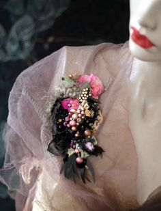 Victorian posy ornate brooch antique lace by FleursBoheme on Etsy