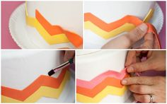 collage obrien 3Project Wedding DIY #2  Good tip on how to make perfect fondant chevrons on your cakes