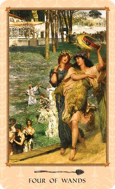 Four of Wands ~ Celebration of Spring, Community, Fertility, and Music. ~ Tarot of Delphi: A Fine Art Tarot Deck