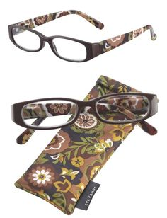 Get nostalgic with these retro-inspired Autumn readers.  If brown in is the new black then these glasses are The New Jan Brady. You will love the brown and green floral print on the arms of these rectangular shaped eyeglasses. http://www.ihearteyewear.com/collections/women/products/autumn-reading-glasses