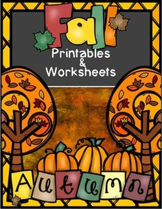 Fall Printables. Worksheets and printables for k-1 teachers to use during the fall season. No color ink! Just hit print!