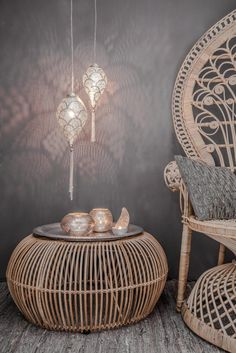 Set up oriental - 50 fabulous living ideas like 1001 nights, Home Accessories, rattan pouf hanging lamps set up oriental.