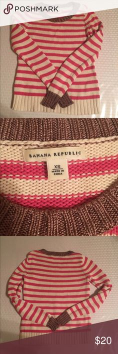 Banana republic knit sweater Pink and white striped knit sweater with gold collar Banana Republic Sweaters Crew & Scoop Necks