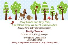 winter forest friends baby shower invitation. $12.00, via Etsy.