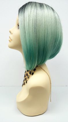 Short Lace Front Wig with Light and Dark Mint by ParamountWigs