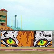 This Tiger Put In Cup Set will make the fans roar with excitement! Each Tiger Chain Link Fence Cup Set is made of durable and reusable plastic. Fence Weaving, Weaving Art, Tiger Face, Tiger Eyes, Tiger Head, Orange Grey, Brown And Grey, Chain Fence, Fence Signs