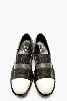 COMME DES GARÇONS HOMME PLUS Black & Grey Textured Panelled Slip-On Shoes