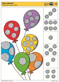 Hoeveel stippen heeft de ballon. tellen. Math Activities For Kids, Brain Activities, Preschool Math, Kindergarten Worksheets, Numbers Kindergarten, Math Numbers, Visual Perception Activities, Sequencing Cards, Subitizing
