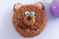 Coco-pops teddy bear birthday cake, could make into a monkey. Teddy Bear Birthday Cake, Teddy Bear Cakes, Birthday Cakes, Birthday Ideas, Birthday Parties, Round Cake Pans, Round Cakes, Cake Icing, Cupcake Cakes
