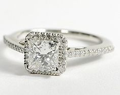 Princess Cut Halo Diamond Engagement Ring in Platinum #BlueNile