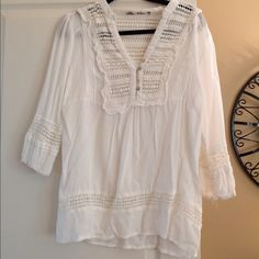 Cotton gauzy top or beach coverup. Hippy chic retro top. I used as a coverup. Swim Coverups