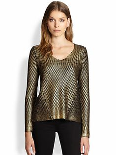 Line - The Afterparty Metallic-Coated Chunky-Knit Sweater - Saks.com-Knitwear gets a glamorous new look with this head-turning metallic-coated sweater.
