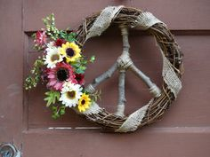 Natural Grapevine Peace Sign Wreath with Sunflowers & Daisies / Hippie Style / Teen Decor / Dorm Decor / Boho / Retro - pinned by pin4etsy.com