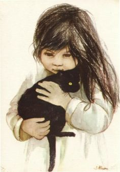 """Girl with cat, Danuta Muszyńska-Zamorska Lovely vintage card from Beata """"Ata"""" from Warsaw! Crazy Cat Lady, Crazy Cats, Illustrations, Illustration Art, She And Her Cat, Black Cat Art, Black Cats, Cat Posters, Cat People"""