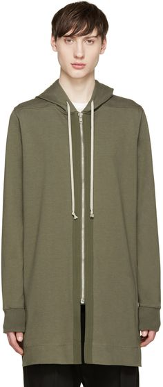 Rick Owens - Green Cotton Hoodie