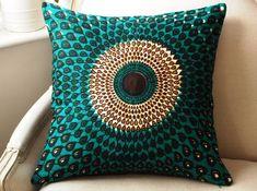 SisterBatik: Teal Silk Peacock pillow