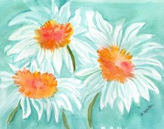 White Shasta Daisies Original Watercolor by SharonFosterArt