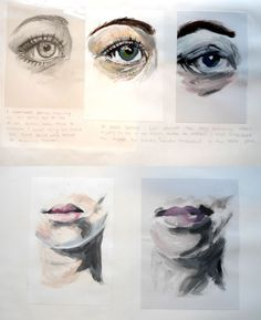 These sketchbook studies show beautiful attention to detail: preliminary paintings of eyes, lips and other facial features, as Sophie practises using different mediums and techniques. Sketchbook Layout, Gcse Art Sketchbook, Sketchbook Ideas, Sketchbooks, Roy Lichtenstein, Pop Art, Easy Art Projects, Eye Painting, A Level Art
