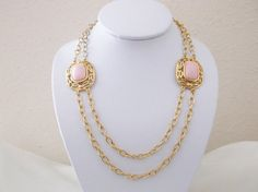 Vintage Retro TRIFARI Pink Lucite Gold Tone by MemawsTopDrawer