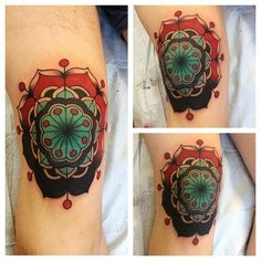 Ron Henry Wells flower knee tattoo ink