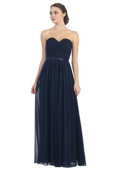 Bridesmaids Long Strapless Sweetheart Chiffon Ruched Bodice Formal Dress