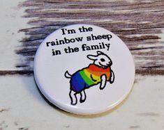 Rainbow Sheep Pin Badge, 25mm Gay Pride Pin Button Badge, LGBT Pin Badge, Out and Proud, Rainbow Pride