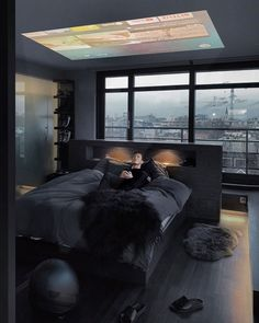 Image may contain: 1 person, indoor Black Bedroom Design, Home Room Design, Home Interior Design, Bedroom Setup, Home Decor Bedroom, Modern Bedroom, Home Office Setup, Black Rooms, Dream Rooms
