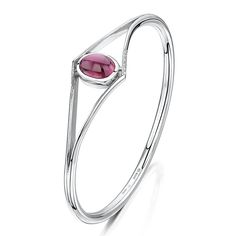 A Rubillite, Diamond & Silver Bangle.  A rubover set cabochon cut rubillite, of 7.19cts from Elahera, Sri Lanka, is mounted as a silver bangle with round brilliant cut diamond detailing either side of the gemstone, with a combined weight of 27.56 grams. Diamond Bangle, Silver Bangles, Pink Tourmaline, Silver Diamonds, Sri Lanka, Color Mixing, Flamingo, Gemstones, Sterling Silver