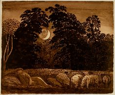 It is hard to see the moon low over the trees in the countryside without thinking of Samuel Palmer.