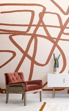 Create a bold feature wall that will add a unique aspect to your interior theme with the Bold Terracotta and Beige Doodle Abstract Wallpaper Mural. Blue Geometric Wallpaper, Bold Wallpaper, Drawing Wallpaper, How To Hang Wallpaper, Normal Wallpaper, Staircase Design, Doodle, House Painting, Colorful Interiors