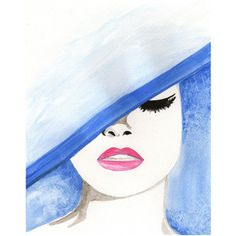Original watercolor fashion illustration - blue hat - Polyvore