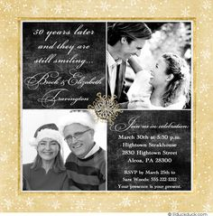 Snowflake Two Photo 50th Anniversary Card Custom Design Layout - Any Colors & Patterns