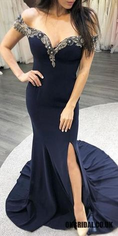 Off Shoulder Mermaid Jersey Sexy Slit Beaded Backless Prom Dresses, Wedding Dresses Near Me, White Wedding Dresses, Cheap Wedding Dress, Wedding Party Dresses, Prom Dresses 2018, Backless Prom Dresses, Cheap Prom Dresses, Evening Dresses, Blue Dresses
