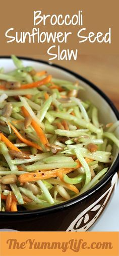 3 Weight Watcher Points Plus!BROCCOLI SUNFLOWER SEED SLAW. A crunchy, nutritious side salad that you can throw together in 5 minutes. Loaded with vitamins and fiber and as easy as it gets. Love it with sandwiches, pulled pork, or anything from the grill.