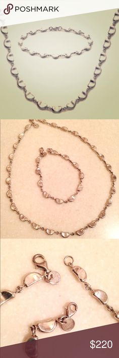 Tiffany and co marching bracelet and necklace Authentic Tiffany and co necklace and bracelet. Tiffany and co logo is shown in photo and the 925 mark is on the hook (small and hard to see but definitely there). Beautiful shaped links that give an elegant s