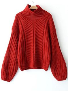 SHARE & Get it FREE | Lantern Sleeve Pullover High Neck Sweater - RedFor Fashion Lovers only:80,000+ Items • New Arrivals Daily Join Zaful: Get YOUR $50 NOW!