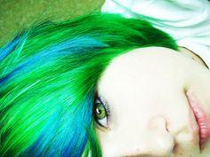 #green & #blue #dyed #scene #hair #pretty