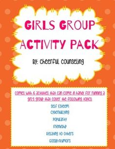 """This product comes with ready-to-use activities for running a girls group! This pack comes with 6 activities that cover different topics: 1. """"All about me Self-Esteem Activity2. Popularity Activity Sheet 3. Friendship Qualities Puzzle Activity 4. Cyberbullying cards and handout activity 5."""