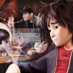 """Hiro Hamada thinking about Tadashi, """"People keeps saying he's not really gone as long as we remember him. But it still hurts."""""""