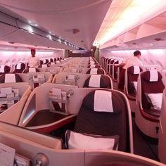Business Class im Upper Deck des Airbus A380 von Qatar Airways #taipan_Kambodscha #taipan_Vietnam #kambodscha #vietnam #qatarairways