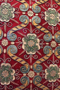 16th century: Applique hanging with rose pattern, England, possibly Southern Delabere (Glocestershire), 1580-90