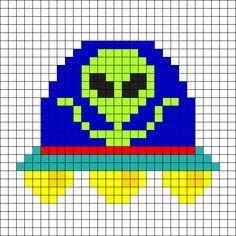 Alien UFO Perler Bead Pattern