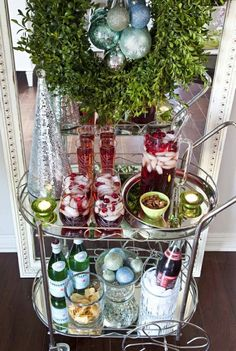 I adore bar carts.esp this Holiday Bar Cart Christmas Style, Christmas Holidays, Christmas Decorations, Holiday Decorating, Christmas Ideas, Christmas Heaven, Holiday Ideas, Christmas Buffet, Christmas Thoughts