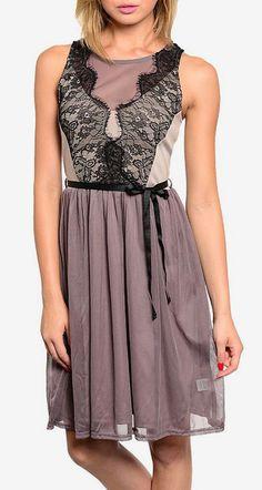 Gray & Black Lace Sleeveless Dress
