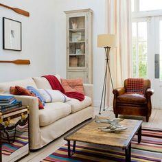 Vintage living room with colourful striped carpet